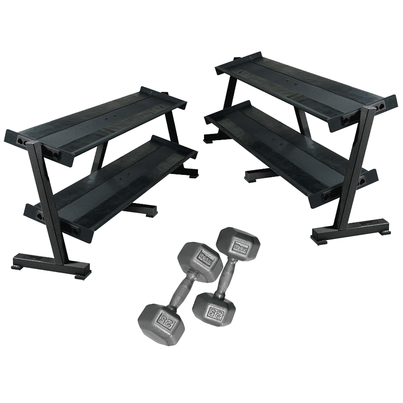 York Pro Hex Dumbbells 5 To 100LB With Racks