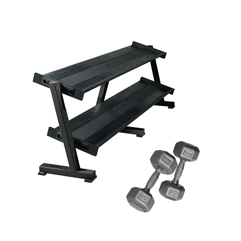 York Pro Hex Dumbbells 5 To 50LB With Rack
