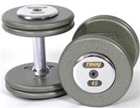 Troy Pro Style Gray Dumbbells with Chrome End Caps Sets & Pairs