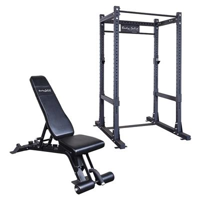 Body-Solid SPR1000P2 Commercial Power Rack Plus Bench