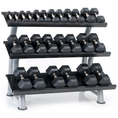 Hampton Fitness Dura-Bell Urethane Hex Dumbbell Club Pack - 2.5 to 50LB Three Tier Rack