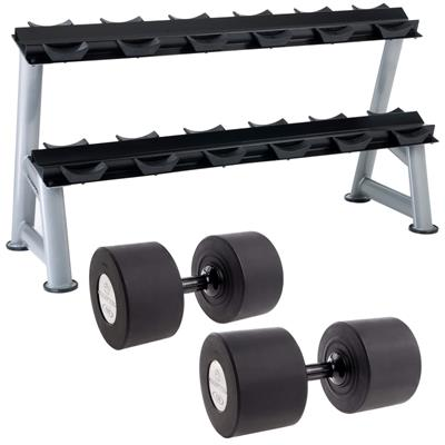 Hampton Fitness Gel-Grip Urethane Dumbbell Club Pack - 105 to 130LB with Rack