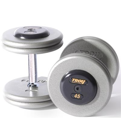Troy Pro Style Gray Dumbbells with Black End Caps