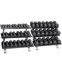 Hampton Fitness Dura-Bell Urethane Hex Club Pack - 2.5 to 100LB with Racks