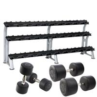 Hampton Fitness Dura-Pro Urethane Dumbbell Club Pack - 5 to 75LB