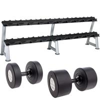 Hampton Fitness Gel-Grip Urethane Dumbbell Club Pack - 55 to 100LB with Rack