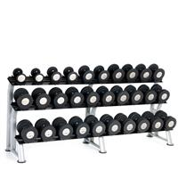 Hampton Fitness Gel-Grip Urethane Dumbbell Club Pack - 5 to 75LB with Rack