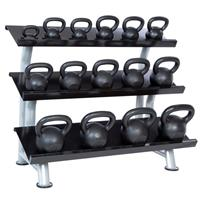 Hampton Fitness Cast Iron Kettlebell Club Pack - 5 to 100LB - 3 Tier Rack