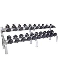 Troy Rubber Encased 12 Sided Dumbbell Set - 5 to 50LB with DR10 Rack