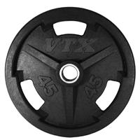 Troy VTX GO-VR Rubber Encased Olympic Plates - 100LB (No Grip Holes)
